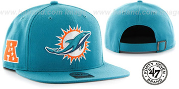 Dolphins SUPER-SHOT STRAPBACK Aqua Hat by Twins 47 Brand