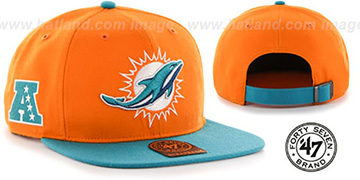 Dolphins SUPER-SHOT STRAPBACK Orange-Aqua Hat by Twins 47 Brand