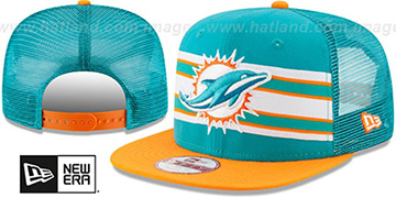 Dolphins 'THROWBACK-STRIPE SNAPBACK' Aqua-Orange Hat by New Era
