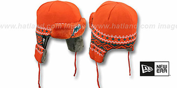 Dolphins 'TRAPPER' Orange Knit Hat by New Era