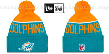 Dophins '2015 STADIUM' Aqua-Orange Knit Beanie Hat by New Era