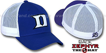 Duke 'DHS-MESH' Fitted Hat by Zephyr - royal-white