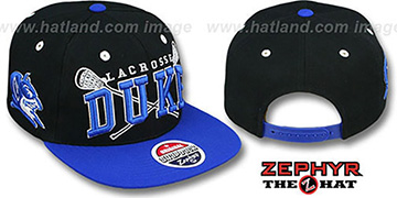 Duke 'LACROSSE SUPER-ARCH SNAPBACK' Black-Royal Hat by Zephyr