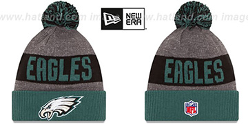 Eagles '2016 STADIUM' Green-Black-Grey Knit Beanie Hat by New Era