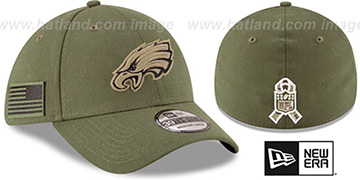 Eagles 2018 SALUTE-TO-SERVICE FLEX Olive Hat by New Era