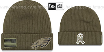 Eagles '2018 SALUTE-TO-SERVICE' Olive Knit Beanie Hat by New Era