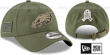 Eagles 2018 SALUTE-TO-SERVICE STRAPBACK Olive Hat by New Era