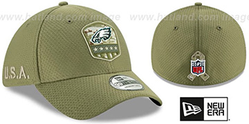 Eagles 2019 SALUTE-TO-SERVICE FLEX Olive Hat by New Era