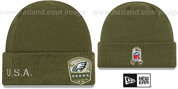 Eagles 2019 SALUTE-TO-SERVICE Knit Beanie Hat by New Era