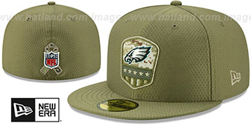 Eagles 2019 SALUTE-TO-SERVICE Olive Fitted Hat by New Era