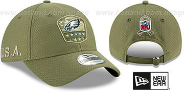 Eagles 2019 SALUTE-TO-SERVICE STRAPBACK Olive Hat by New Era