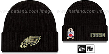 Eagles '2020 SALUTE-TO-SERVICE' Black Knit Beanie Hat by New Era