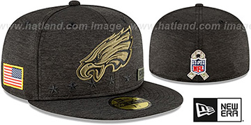 Eagles 2020 SALUTE-TO-SERVICE ST Black Fitted Hat by New Era