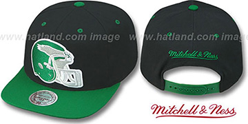 Eagles '2T XL-HELMET SNAPBACK' Black-Green Adjustable Hat by Mitchell & Ness