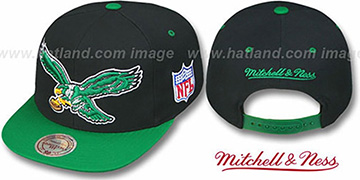 Eagles '2T XL-LOGO SNAPBACK' Black-Green Adjustable Hat by Mitchell and Ness