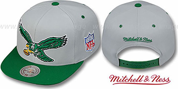 Eagles '2T XL-LOGO SNAPBACK' Grey-Green Adjustable Hat by Mitchell and Ness