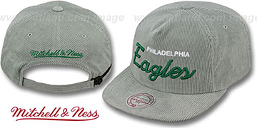 Eagles 'CORD-SCRIPT STRAPBACK' Grey Hat by Mitchell & Ness
