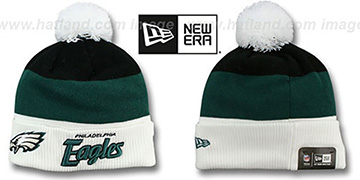Eagles 'CUFF-SCRIPTER' White-Green-Black Knit Beanie Hat by New Era