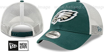 Eagles FRAYED LOGO TRUCKER SNAPBACK Hat by New Era