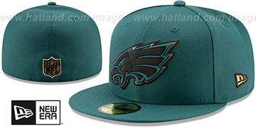 Eagles GOLD METALLIC STOPPER Green Fitted Hat by New Era