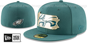 Eagles GOLD STATED METAL-BADGE Green Fitted Hat by New Era