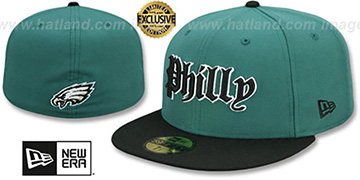 Eagles GOTHIC TEAM-BASIC Green-Black Fitted Hat by New Era