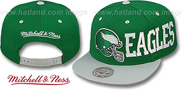 Eagles 'HELMET-WORDWRAP SNAPBACK' Green-Grey Hat by Mitchell and Ness