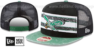 Eagles 'HERITAGE-STRIPE SNAPBACK' Black-Green Hat by New Era