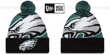 Eagles 'LOGO WHIZ' Green-Black Knit Beanie Hat by New Era