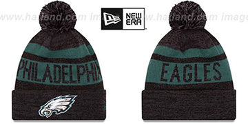 Eagles 'METALLIC STRIPE' Black-Green Knit Beanie Hat by New Era