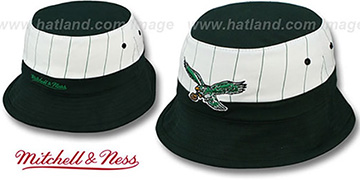 Eagles MID-PINSTRIPE BUCKET Black-White Hat by Mitchell and Ness