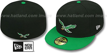 Eagles 'NFL 2T THROWBACK TEAM-BASIC' Black-Green Fitted Hat by New Era
