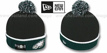 Eagles 'NFL FIRESIDE' Black-Green Knit Beanie Hat by New Era