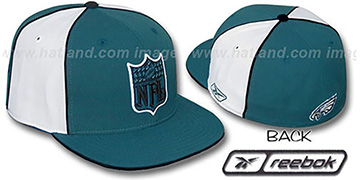 Eagles NFL SHIELD PINWHEEL Green White Fitted Hat by Reebok