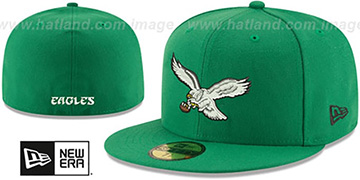 Eagles 'NFL THROWBACK TEAM-BASIC' Green Fitted Hat by New Era