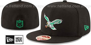 Eagles 'NFL THROWBACK WOOL-STANDARD' Black Fitted Hat by New Era