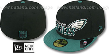 Eagles 'NFL-TIGHT' Black-Green Fitted Hat by New Era