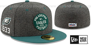 Eagles ONFIELD SIDELINE HOME Charcoal-Green Fitted Hat by New Era