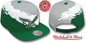 Eagles PAINTBRUSH SNAPBACK Grey-White-Green Hat by Mitchell and Ness