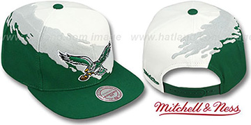 Eagles PAINTBRUSH SNAPBACK White-Grey-Green Hat by Mitchell & Ness