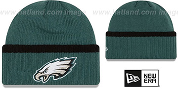 Eagles 'RIBBED-UP' Green Knit Beanie Hat by New Era