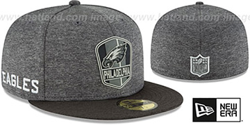 Eagles 'ROAD ONFIELD STADIUM' Charcoal-Black Fitted Hat by New Era