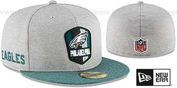 Eagles 'ROAD ONFIELD STADIUM' Grey-Green Fitted Hat by New Era