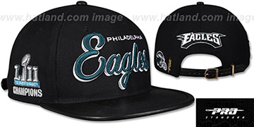Eagles SCRIPT SUPER BOWL LII CHAMPS STRAPBACK Black Hat by Pro Standard