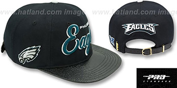 Eagles SCRIPT SUPER BOWL LII STRAPBACK Black Hat by Pro Standard