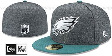 Eagles SHADER MELTON Grey-Green Fitted Hat by New Era