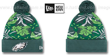 Eagles SNOW-TROPICS Green Knit Beanie Hat by New Era