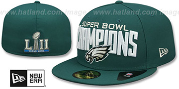 Eagles SUPER BOWL LII CHAMPIONS Green Fitted Hat by New Era