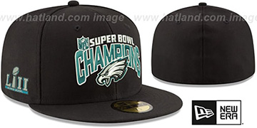Eagles SUPER BOWL LII CHAMPS Black Fitted Hat by New Era