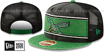 Eagles TB HERITAGE-BAND TRUCKER SNAPBACK Black-Green Hat by New Era
